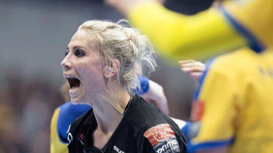 Louise Svalstog under den første DM-finale mod Nykøbing Falster Håndbold.