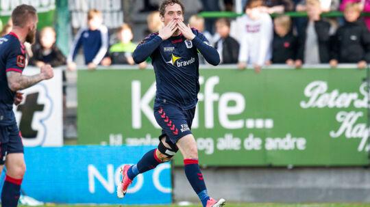 AGFs Morten Duncan Rasmussen kan nu kalde sig den mest scorende spiller i Superligaen, efter han scorede sit Superliga-mål nummer 140. Viborg FF vs. AGF 2-2. ALKA Superliga. Runde 35. Energi Viborg Arena. Foto: Bo Amstrup / Scanpix 2017