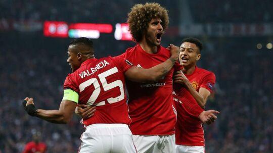 Manchester Uniteds Marouane Fellaini (imidten) scorede det afgørende mål, da holdets spillede sig Europa League-finalen med en sejr over Celta Vigo.