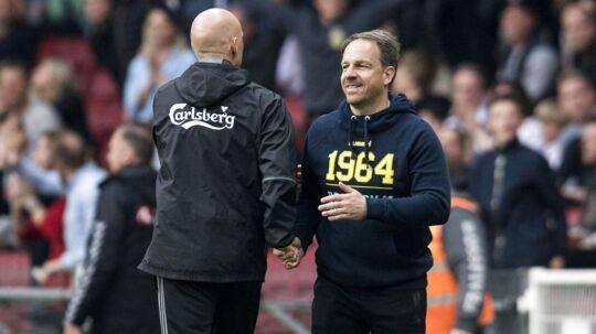 Brøndby-træner Alexander Zorniger (th): »Alt var godt. Vi spillede bedst, vi havde de bedste fans, det var en fantastisk pokalfinale. Det var bare en skam, at vi tabte.« (billedet er fra en tidligere kamp)