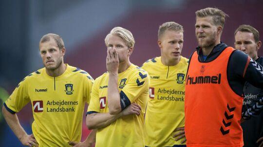 Brøndby's Johan Larsson og Teemu Pukki var kede af det efter nederlaget til FCK, og Frederik Holst (ikke på billedet) var helt færdig.