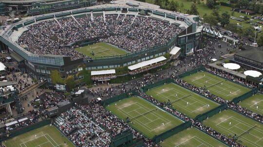 Overblik over Wimbledon-anlægget i den sydvestlige del af London.