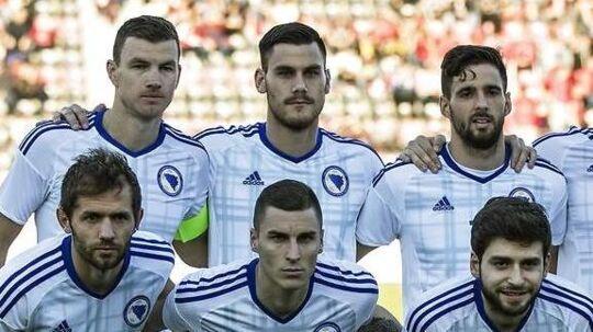 Dario Dumic spillede hele kampen for Bosnien, da holdet slog Albanien med 2-1 i marts. Her står han ved siden af Bosniens store stjerne og anfører, Edin Dzeko.