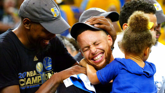 Jun 12, 2017; Oakland, CA, USA; Golden State Warriors forward Kevin Durant (35), guard Stephen Curry (30) celebrate with his caught Riley in game five of the 2017 NBA Finals at Oracle Arena. Mandatory Credit: Kelley L Cox-USA TODAY Sports TPX IMAGES OF THE DAY