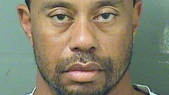 Tiger Woods på det forbryderfoto, som politiet tog af ham i fængslet.
