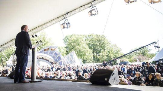 Statsminister og formand for Venstre, Lars Løkke Rasmussen, holde tale fredag d.16.06.2017 på hovedscenen på Folkemødet i Allinge på Bornholm.