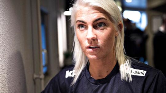 Pressemøde med damehåndboldlandsholdet på Hotel Scandic i Aarhus før de næste 3-dages OL kvalifikationskampe. Her ses Danmarks Kristina Kristiansen