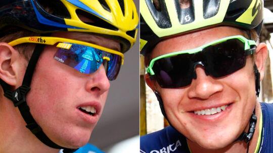 Jesper Hansen (tv.) og Christopher Juul-Jensen kommer ikke med i årets Tour de France.