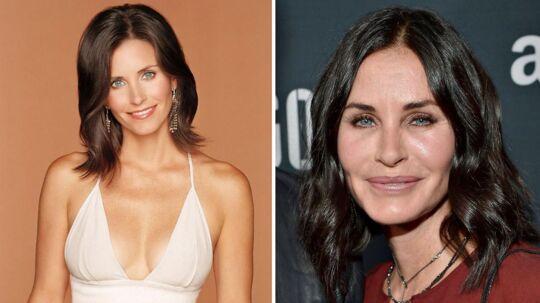 Courteney Cox. Det første billede er fra dengang, hun spillede med i tv-serien 'Friends' (1994-2004), mens billedet til højre er fra 2015.