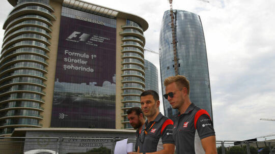 Kevin Magnussen and his Haas-Ferrari race engineer Giuliano Salvi during track walk before the 2017 Azerbaijan Grand Prix in Baku. Photo: Grand Prix Photo