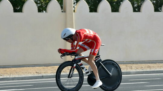 epa05582582 Martin Toft Madsen of Denmark in action during the Men Elite Individual Time Trial event at the 2016 cycling Road World Championships in Qatar, Doha, 12 October 2016. EPA/STR