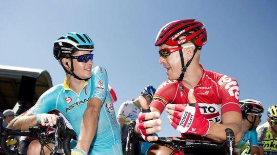 Jakob Fuglsang (venstre) og Lars Bak udgør to tredjedele af den dansker-trio, der skal køre Tour de France i år.
