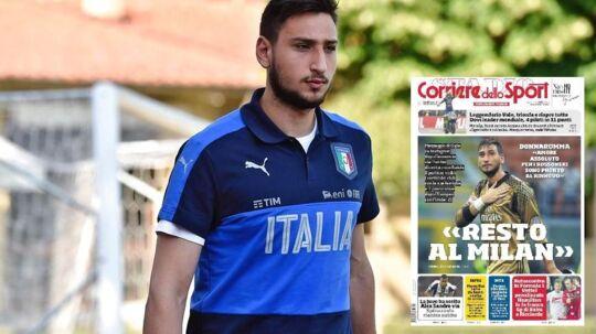 Sådan ser mandags avisforsiden med Gianluigi Donnarumma-historien ud i Corriere dello Sport.