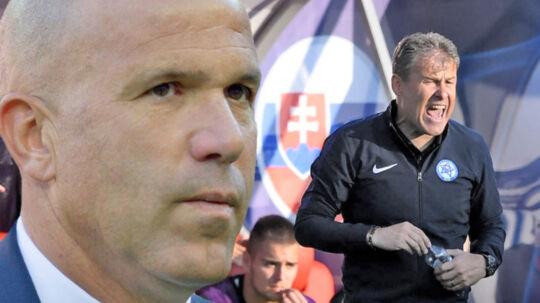 Italiens U21-landstræner, Luigi Di Biagio (tv.), mener, at Slovakiets U21-landstræner, Pavel Hapal (th.), bør straffes.
