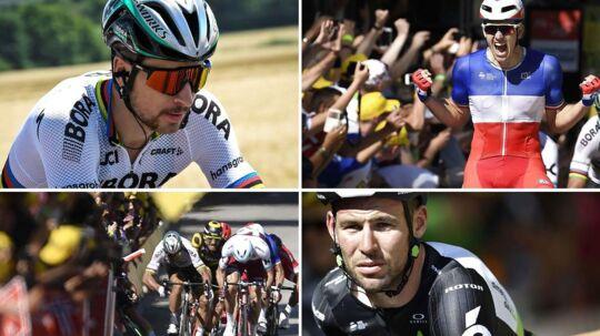 Fra øverste venstre hjørne med uret: Peter Sagan, som nu er diskvalificeret, Arnaud Démare, som vandt fjerde etape, Mark Cavendish, som blev skadet i spurten, og så selve styrtet i spurten.