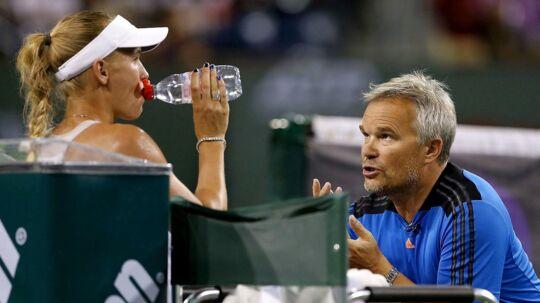Piotr Wozniacki var nervøs under Caroline Wozniackis kamp mod Anett Kontaceit. Billedet er fra en tidligere kamp.