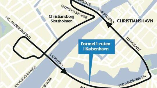 Formel 1-ruten gennem København.