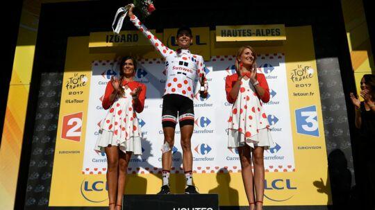 Franskmanden Warren Barguil havde en fantastisk torsdag i Tour de France, hvor han kom først i mål på Col d'Izoard. Scanpix/Philippe Lopez