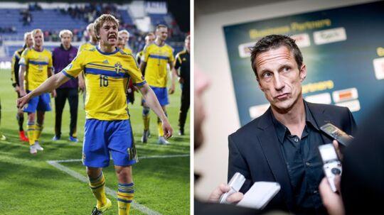 Brøndbys sportsdirektør, Troels Bech (th), er godt tilfreds med, at klubben har haft mulighed for at hente Simon Tibbling fra Groningen.