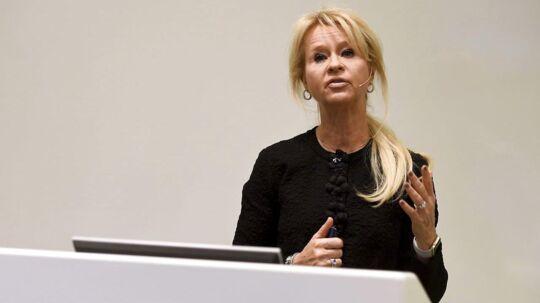 Annika Falkengren har aldrig holdt ferie, fortælles det. Og hun kan derfor tage 7,5 svenske kroner med sig, når hun forlader jobbet som administrerende direktør i den svenske storbank SEB. Arkivfoto.