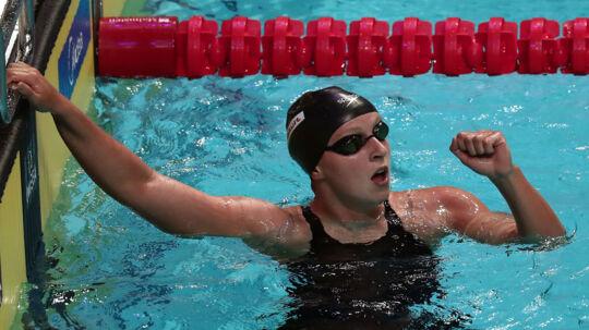 Amerikanske Katie Ledecky skrev sig tirsdag aften ind i historiebøgerne med sin 12. VM-guldmedalje. Scanpix/Ferenc Isza