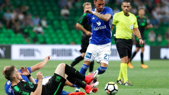 KRASNODAR, RUSSIA - JULY 27, 2017: FC Lyngby's David Boysen (C running) in the first leg of their 2017/2018 UEFA Europa League third qualifying round tie with FC Krasnodar at Krasnodar Stadium. Vitaly Timkiv/TASS