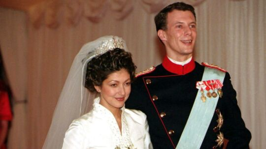 Prinsesse Alexandra og prins Joachim ved deres bryllup i Frederiksborg Slotskirke i 1995.