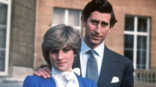Et foto af Prins Charles og prinsesse Diana taget på deres forlovelsesdag den 24. februar 1981.