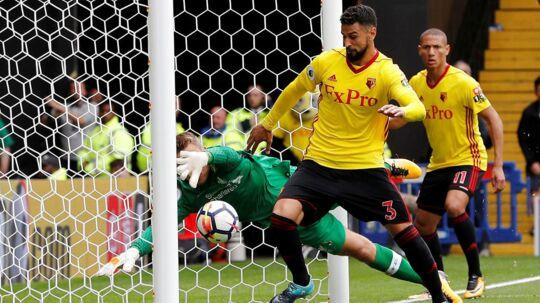 Watford (gule trøjer) udlignede i overtiden mod Liverpool.