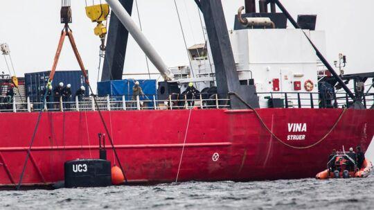 Ubåden 'UC3 Nautilus' blev bjærget lørdag 12. august. Den blev slæbt til Københavns Nordhavn efterfølgende. (Foto: Martin Sylvest/Scanpix 2017)