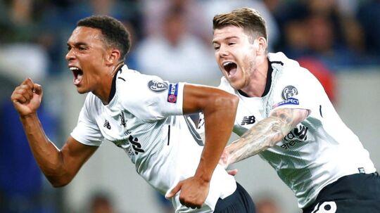 Liverpools Trent Alexander-Arnold scorede til 1-0. REUTERS/Ralph Orlowski