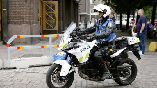 Finnish police patrols on motorbike after stabbings in Turku, in Central Helsinki, Finland August 18, 2017.