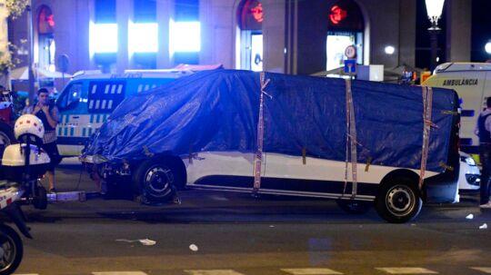 Her ses den varervogn, der blev brugt under angrebet i Barcelona 17. august 2017.