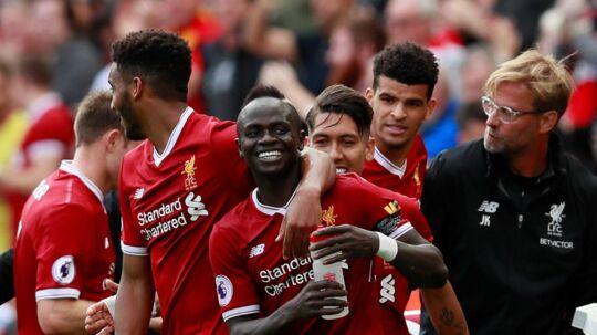 På et mål af senegalesiske Sadio Mané sikrede Liverpool lørdag sæsons første sejr i Premier League. Scanpix/Jason Cairnduff