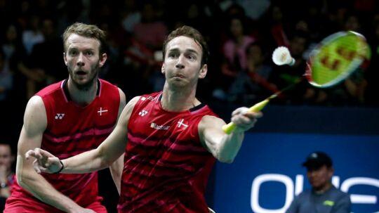 Den andenseedede herredouble bestående af Mathias Boe (th.) og Carsten Mogensen (tv.) er et af Danmarks største medaljehåb ved VM i Glasgow.