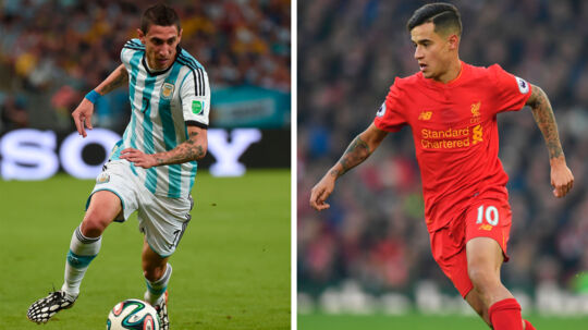 Med kun ti dage tilbage af transfervinduet har FC Barcelona så småt opgivet at hente Philppe Coutinho (th) for i stedet at jagte Angel di Maria (tv).