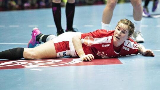 Mette Gravholt, da hun stadig spillede for landsholdet.