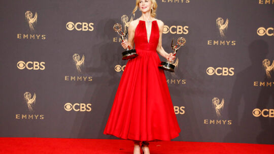 69th Primetime Emmy Awards - Photo Room - Los Angeles, California, U.S., 17/09/2017 - Nicole Kidman poses with the Emmys for Outstanding Limited Series and Outstanding Lead Actress in Limited Series for Big Little Lies. REUTERS/Lucy Nicholson