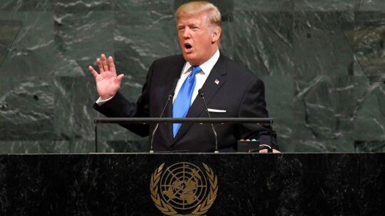 USA's præsident Donald Trump under sin tale i FN.