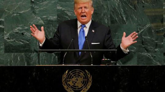 Præsident Trump holder tale for FN i New York.