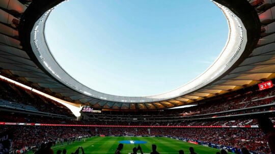 TOPSHOT - View taken on on September 16, 2017 of the new Wanda Metropolitano stadium before the Spanish league football match Club Atletico de Madrid vs Malaga CF in Madrid. / AFP PHOTO / OSCAR DEL POZO