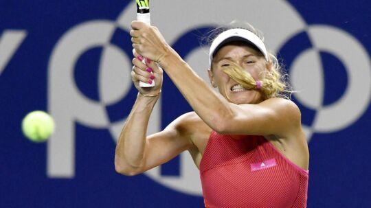 Caroline Wozniacki omåtte kæmpe hårdt for sejren i Tokyo.