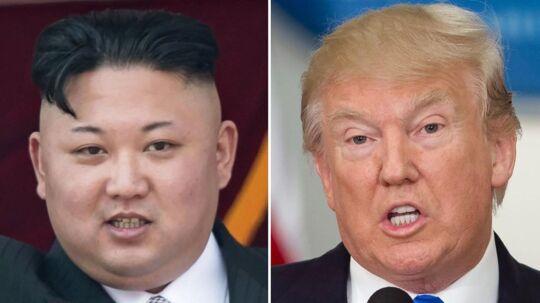 På billedet: Nordkoreas leder Kim Jong-Un og USA's præsident Donald Trump.