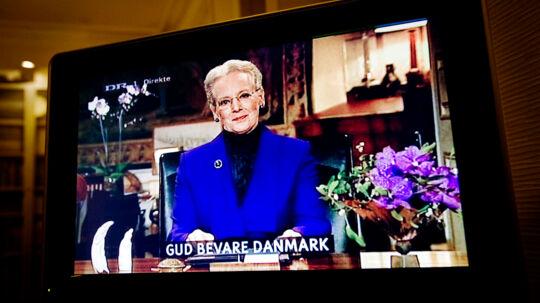 Affotografering: Nytår 2008/09. Dronningens nytårstale kl 6, affotograferet fra fjernsynet.