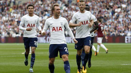 Christian Eriksen (i midten) sendte målet til 3-0 i kassen i lørdagens kamp mod West Ham
