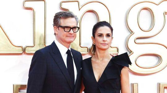 Her ses den britiske skuespiller med sin kone Livia til premieren på filmen 'Kingsman: The Golden Circle' i London.