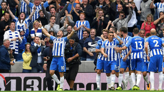 "Soccer Football - Premier League - Brighton & Hove Albion vs Newcastle United - Amex Stadium, Brighton, Britain - September 24, 2017 Brighton's Tomer Hemed celebrates scoring their first goal with teammates Action Images via Reuters/Tony O'Brien EDITORIAL USE ONLY.No use with unauthorized audio, video, data, fixture lists, club/league logos or ""live"" services. Online in-match use limited to 75 images, no video emulation.No use in betting, games or single club/league/player publications. Please contact your account representative for further details."