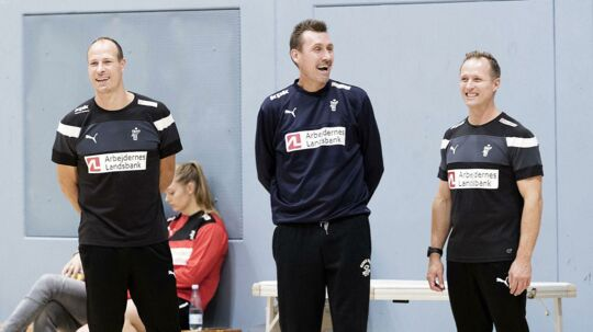 Trænertrioen Lars Jørgensen, Michael Bruun Pedersen og Klavs Bruun Jørgensen.