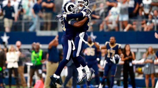Los Angeles Rams er et af tre hold, der har overrasket enormt positivt i den første fjerdedel af NFL-sæsonen. Foto: AFP