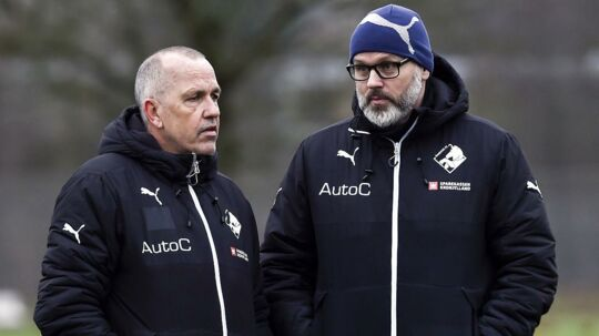 Peter Enevoldsen (tv.) kom til Randers FC i begyndelsen af året. Her sammen med nu tidligere cheftræner Ólafur Kristjánsson.